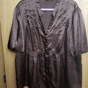 CATO brown, button up, silky top  Size 22/24